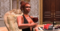 Me drinking a glass of red wine