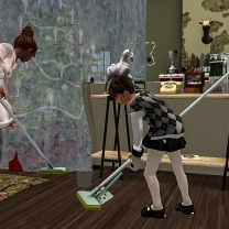 Taelor and I cleaning up the mess