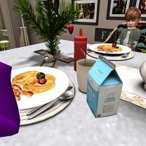 Taelor eating his pancakes