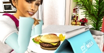 Taelor about to say grace then eat up his delicious burger :)