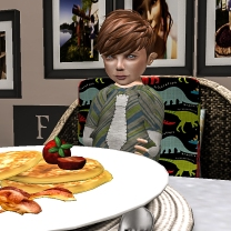 Siddy eating his pancakes