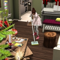 Mopping while Taelor is off in the bathroom washing his hands