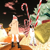Taelor spots the giant candy canes
