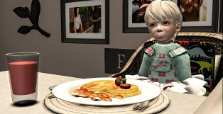 Bry eating her pancakes