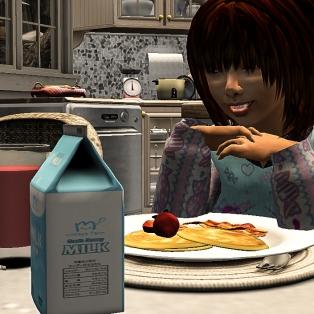 Tae eating his pancakes