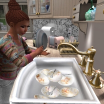 Washing up the dishes while Sidney hangs out with Tae in his room