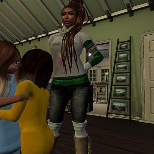 Tae hugging Mystina at the door
