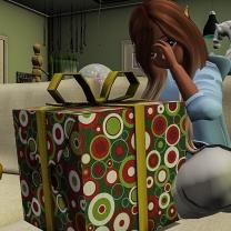 Mystina opening her present