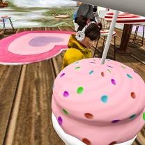 Tae hugging a giant cupcake
