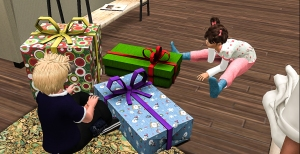 Timmy opening his gifts
