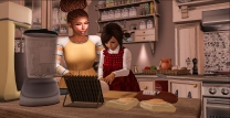 Tae kneading the dough
