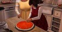 Spreading tomato sauce