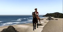 Taelor taking Cocoa for a run on the beach