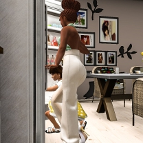 Tae grabbing the milk from the fridge
