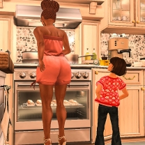 Cooking and my helper is right there - yay