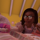 Camping out on Taelor's bed while he changes into his Pajamas